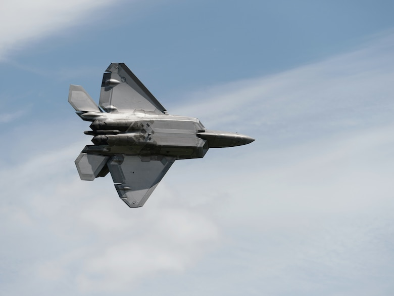 Maj. Paul Lopez, an F-22 Raptor pilot assigned to the F-22 Raptor Demonstration Team, performs a demonstration flight during the Thunder of Niagara 2018 air show at Niagara Falls Air Reserve Station, N.Y., June 10, 2018. The Raptor performance was one of the headlining acts of the air show that took place June 9-10, 2018. (U.S. Air National Guard photo by Staff Sgt. Ryan Campbell)