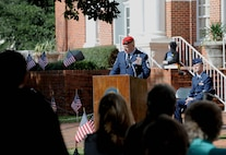Chief Master Sgt. Bradley Reilly, 14th Operations Group Superintendent, speaks to a crowd during a Veterans Day ceremony Nov. 11, 2017, in Columbus, Mississippi. Reilly was the featured speaker for the ceremony, which also included a parade beforehand. (U.S. Air Force photo by Staff Sgt. Christopher Gross)