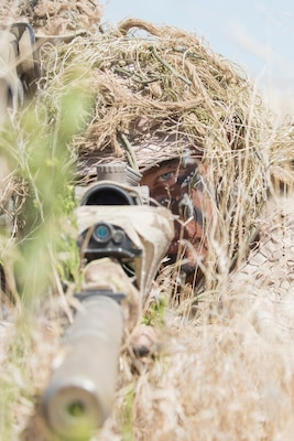 Hidden beneath twigs and weeds, a sniper's stomach is flat on the ground, dirt and grime on his face. All that can be seen in the bundles of cheatgrass is a pair of steady, intense eyes.