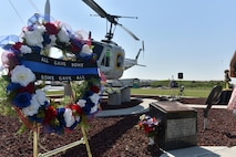 After the crash in rural Missouri in 1982, Whiteman dedicated a replica of the Bell UH-1F Iroquois at its historical Oscar-1 launch facility. A memorial wreath was laid to honor the fallen Airmen of the Charlie Fire Team at Whiteman Air Force Base Missouri, June 10, 2018.