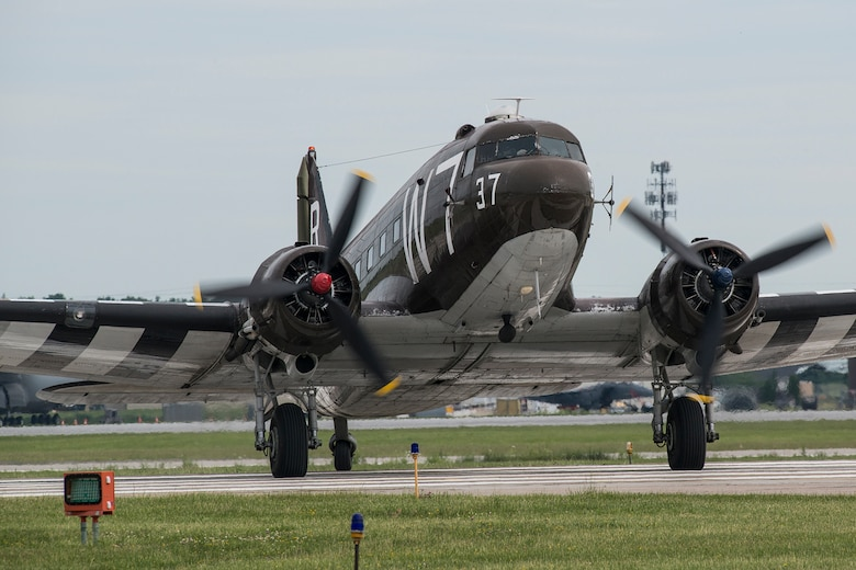 A National Warplane Museum C-47 arrives at the Niagara Falls International Airport to participate in a Heritage Flight on June 7, 2018, Niagara Falls, N.Y. The museum is a voluntary organization dedicated to the restoration and preservation of World War II and Korean War era military aircraft. (U.S. Air Force photo by Master Sgt. Greg Steele/Released)