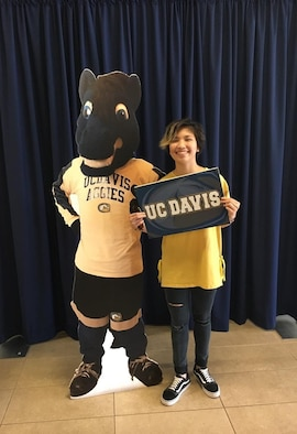 Corvias Foundation scholarship recipient, Zoexenita Mercado of Desert High School on Edwards Air Force Base, poses for a photo with at University of California, Davis mascot cutout. She plans to attend the university and be a surgeon in the future. (Courtesy photo)