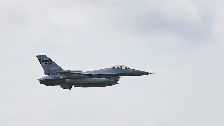 An F-16 Fighting Falcon conducts air-to-ground training at Townsend Bombing Range, Georgia June 12. Aircraft around the Department of Defense regularly use the range to rehearse strafing and dropping inert munitions. The aircraft is with 157th Fighter Squadron, 169th Fighter Wing based out of McEntire Joint National Guard Base, Georgia.