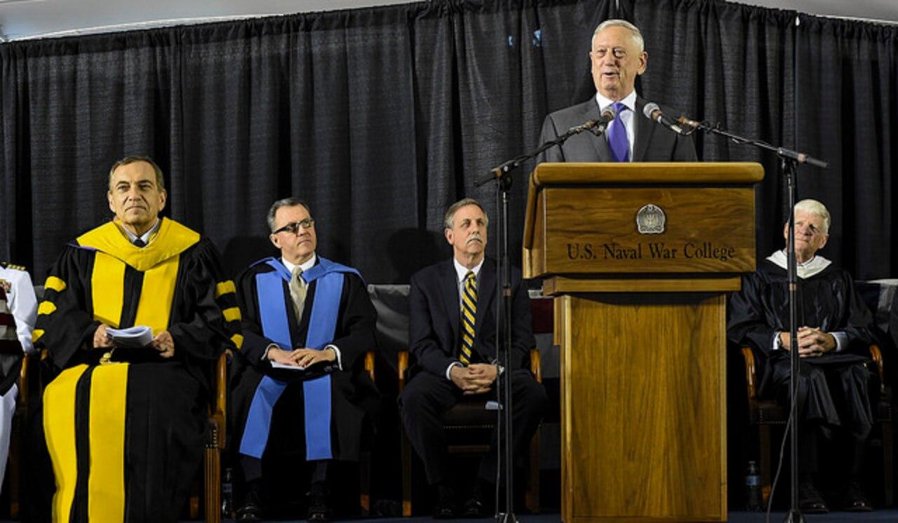 Defense Secretary James N. Mattis addresses U.S. Naval War College class of 2018 graduates during a commencement ceremony in Newport, R.I.