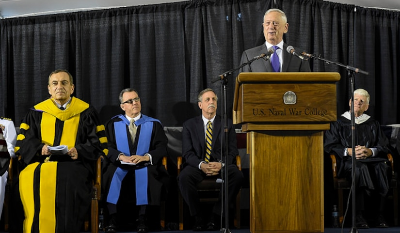 Defense Secretary James N. Mattis addresses U.S. Naval War College class of 2018 graduates during a commencement ceremony in Newport, R.I.