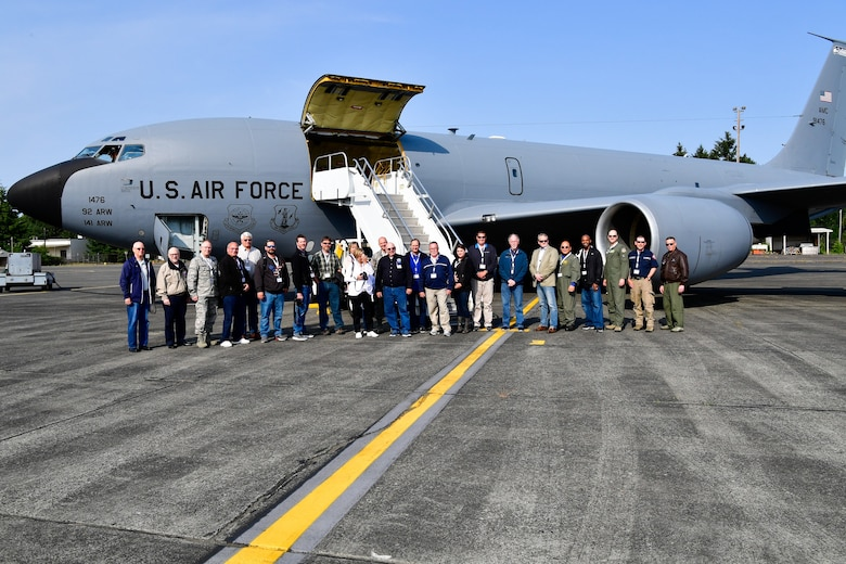 As part of the Employer Support of the Guard and Reserve (ESGR) Bosslift program, the Washington Air National Guard's 141st Air Refueling Wing flew civilian employers on KC-135s where they witnessed F-15s from the 142nd Fighter Wing, Oregon Air National Guard, being refueled June 6, 2018. (U.S. Air National Guard photo by Capt. Colette Muller)