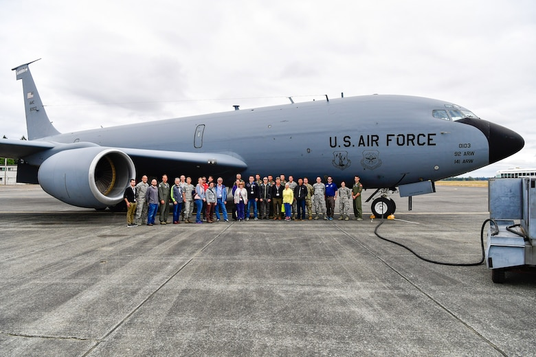 As part of the Employer Support of the Guard and Reserve (ESGR) Bosslift program, the Washington Air National Guard's 141st Air Refueling Wing flew civilian employers on KC-135s where they witnessed F-15s from the 142nd Fighter Wing, Oregon Air National Guard, being refueled June 7, 2018. (U.S. Air National Guard photo by Capt. Colette Muller)