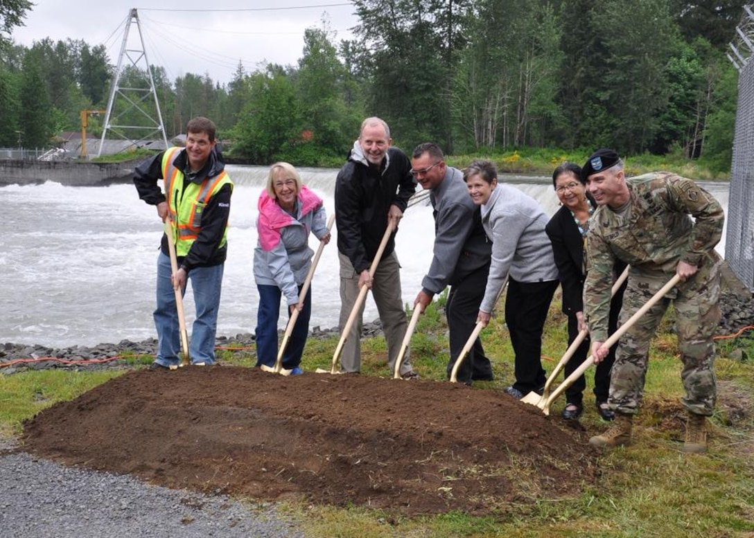 The Seattle District hosted a groundbreaking ceremony in Buckley, Washington for the Mud Mountain Dam Fish Passage Facility, June 18.