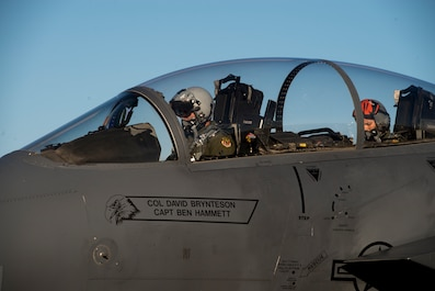 Image of Capt. Jesse Loya, 391st Fighter Squadron pilot, starts up an F-15E Strike Eagle during Green Flag West, June 13, 2018, at Nellis Air Force Base, Nevada. The 391st FS participated in Green Flag to further enhance readiness by training on Close Air Support over the National Training Center, Fort Irwin, California. (U.S. Air Force Photo by Airman 1st Class JaNae Capuno)
