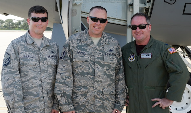 (Left to Right) Master Sgt. Nate Violette, superintendent of the 6th Aircraft Maintenance Squadron (AMXS), Master Sgt. Kevin McGrath, superintendent of the 927th AMXS, and Lt. Col. Dean Rancourt, aircraft commander and evaluator pilot assigned to the 63rd Air Refueling Squadron, pause for a photo at MacDill Air Force Base, Fla., June 14, 2018. As the first leg of the mission, ground crews from the 6th AMW and aircrews from the 927th ARW collaborated to ensure the rapid refueling of a B-52 Stratofortress from the 96th Bomb Squadron during a WWI commemoration flight. (U.S. Air Force photo by Staff Sgt. Vernon L. Fowler Jr.)