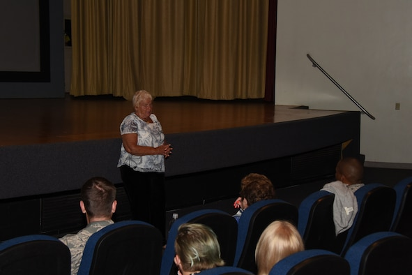 Special guest, survivor of the Warsaw Ghetto, Ms. Wanda Wolosky, speaks on her personal trials and what she overcame, during the Holocaust Remembrance at the Event Center on Goodfellow Air Force Base, Texas, June 14, 2018. Wolosky travels with the Holocaust Military Education Program to address the importance of resiliency and learning from history. (U.S. Air Force Airman 1st Class Zachary Chapman/Released.)