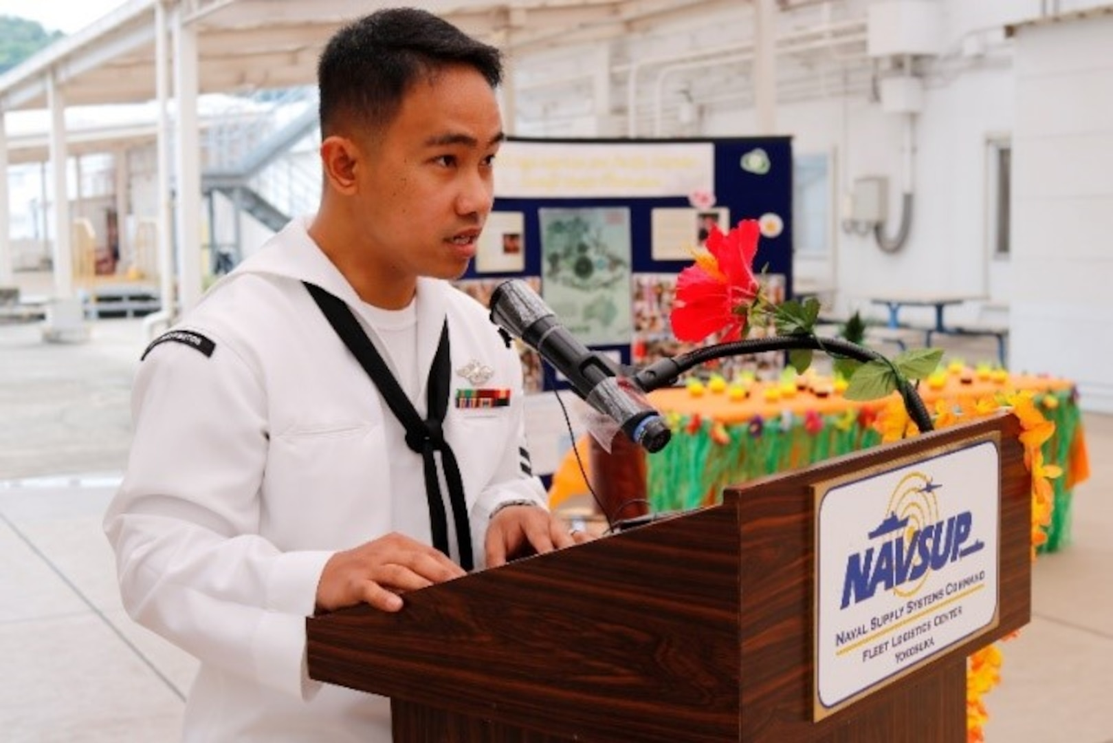 LS2 (FMF) Reymart Hombrebueno led the ceremony as emcee. He was born and raised in Philippines and moved to United States in October 2011 and enlisted into the Navy on July 18, 2012.