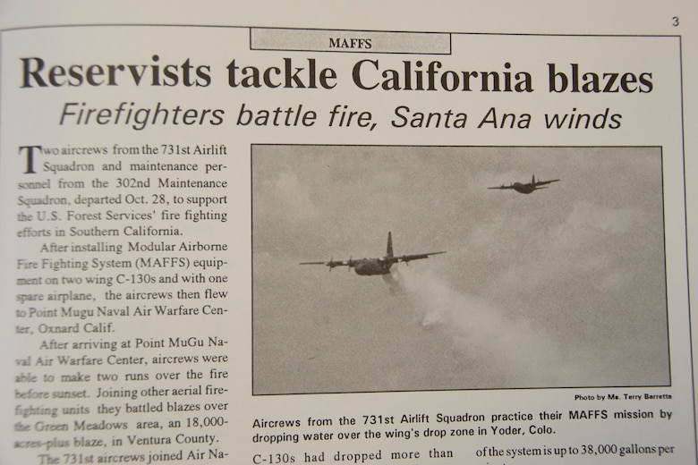 The 302nd Airlift Wing's first Modular Airborne Fire Fighting System activation is documented in the Reserve wing's print publication, the Front Range Flyer dated October 1993. .