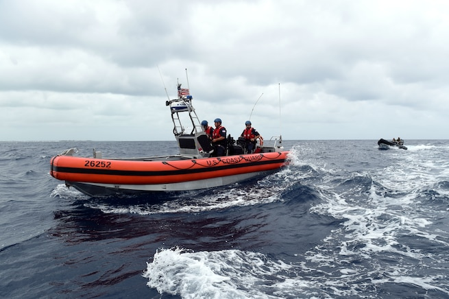 Coast guard boats conduct training off the Bahamas