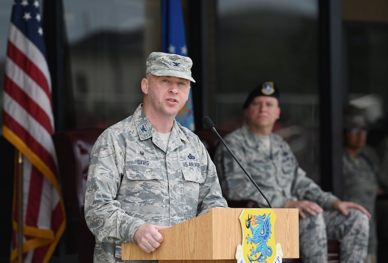U.S. Air Force Col. Danny Davis, 81st Mission Support Group commander, delivers remarks during the 81st Training Group drill down on the Levitow Training Support Facility drill pad at Keesler Air Force Base, Mississippi, June 15, 2018. Airmen from the 81st TRG competed in a quarterly open ranks inspection, regulation drill routine and freestyle drill routine. (U.S. Air Force photo by Kemberly Groue)