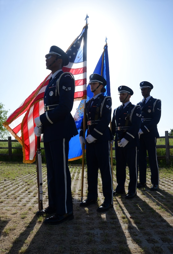 The Tinker Honor Guard performed color guard duties for the 72nd Medical Group Change of Command June 11. The event was held behind the clinic in the Amn. First Class Lakesha Levy Memorial Garden.