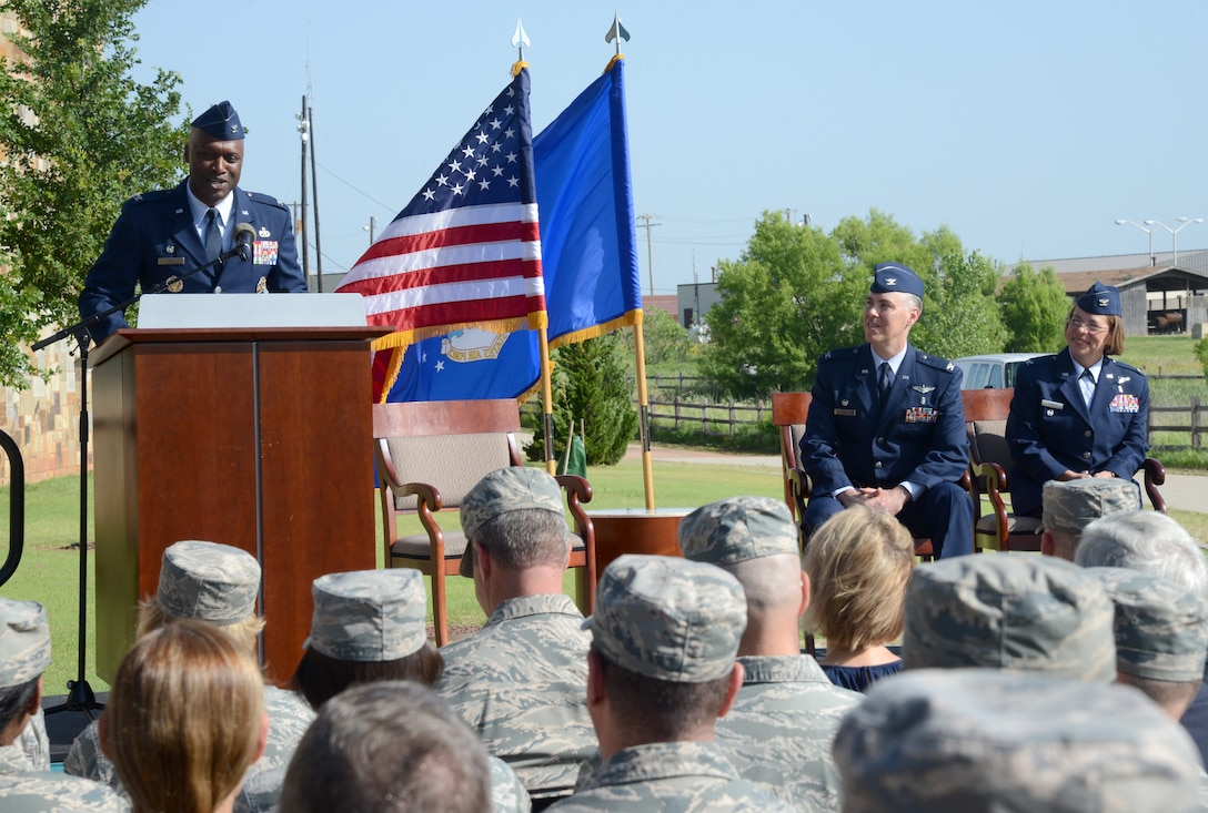 72nd Air Base Wing Commander Col. Kenyon Bell served as the presiding officer for the 72nd Medical Group Change of Command June 11 in the Amn. First Class Lakesha Levy Memorial Garden. Col. Jennifer Trinket assumed command of the group from Col. Christopher Grussendorf during the ceremony.