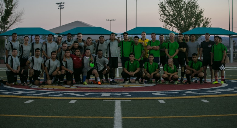 Headquarters Battalion and Marine Corps Communication-Electronics School participated in the installation's intramural soccer finals at Felix Field aboard the Marine Corps Air Ground Combat Center, Twentynine Palms, Calif., June 7, 2018. The MCCES team won 3-0, defeating the Headquarters' Battalion team. (U.S. Marine Corps photo by Lance Cpl. Dave Flores)