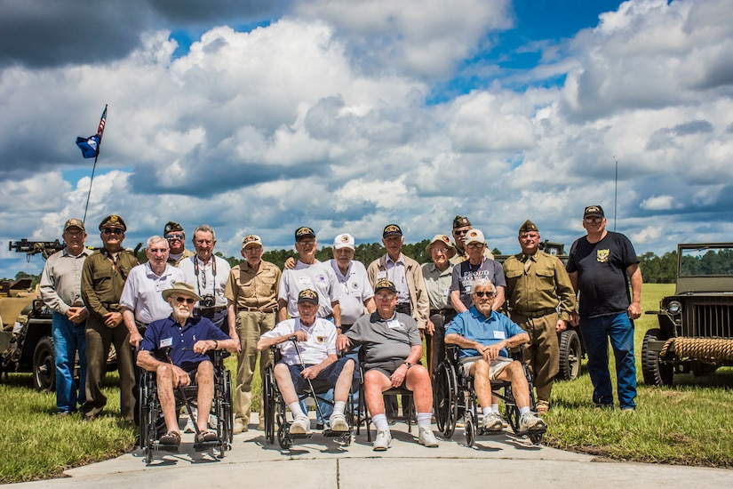 Veterans of the Army 66th Infantry Division pose for a group photo during the division's final reunion and site dedication at Camp Blanding Joint Training Center's museum in Starke, Fla.