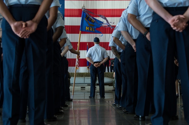 Barksdale Airmen attend the 2nd Bomb Wing change of command ceremony at Barksdale Air Force Base, La. June 18, 2018. Miller, who previously served as director of the Joint-Global Strike Operations Center, Air Force Global Strike Command, assumed command from Col. Ty Neuman. (U.S. Air Force photo by Airman 1st Class Lillian Combes)