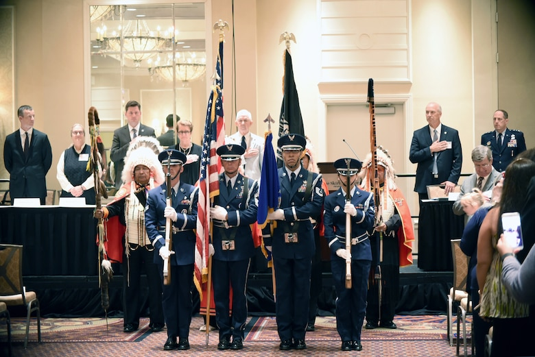 Members of the Tinker Honor Guard joined the Kiowa Black Leggings Society in presenting the colors to kick off the afternoon session of the Sovereignty Symposium, June 6, 2018, at the Skirvin Hotel in downtown Oklahoma City.