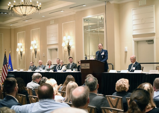 Air Force Sustainment Center Commander Lt. Gen. Lee K. Levy II delivers the keynote address during the 31st annual Sovereignty Symposium June 6, 2018, in downtown Oklahoma City.