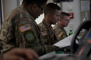 Airmen from the 621st Contingency Response Wing, located bi-coastally at Joint Base McGuire-Dix-Lakehurst, New Jersey, and Travis Air Force Base, California, provide command and control during Exercise Swift Response 18 at Ramstein Air Base, RP, Germany on June 5, 2018. (U.S. Air Force photo by Tech Sgt. Robert Waggoner/RELEASED)