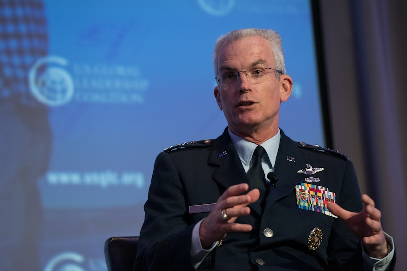 Air Force Gen. Paul J. Selva, vice chairman of the Joint Chiefs of Staff, gestures while speaking and talking.