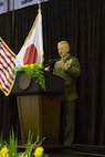 KADENA AIR BASE, OKINAWA, Japan – Brig. Gen.  Paul Rock Jr. speaks to the Kadena High School graduating class June 8 in Kadena Air Base, Okinawa, Japan.