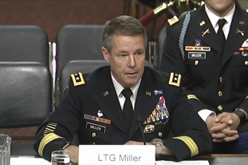 A military official testifies before a Senate committee.