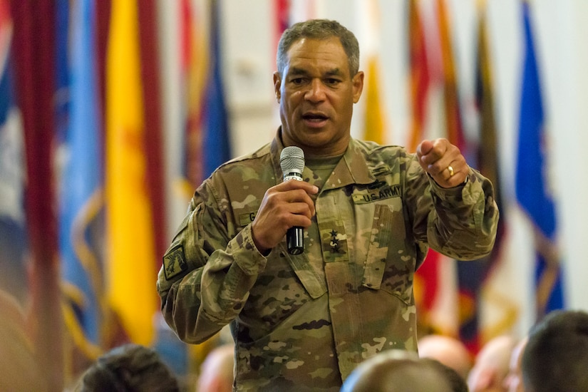 Lt. Gen. Michael X. Garrett, U.S. Army Central (USARCENT) commander speaks to Soldiers during a town hall meeting at Camp Arifjan, Kuwait, June 14, 2018. Lt. Gen. Garrett conducted the town hall to discuss USARCENT's vision and enduring priorities of readiness, communication, protecting the force, and  transitions between incoming and outgoing units.