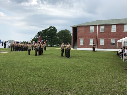 On Friday June 15th, 2018 at Courthouse Bay, Camp Lejeune, N. C. Marines from Marine Corps Engineer School participated in the award and retirement ceremony for Master Sergeant Jorge E. Castillon. MSgt Castillon was awarded the Meritorious Service Medal and he retires after 24years of honorable and faithful military service to the United States of America.