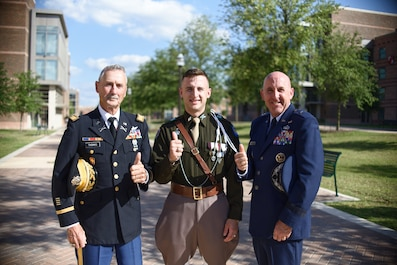 2nd Lt. Wyatt Edward Thomas with his father and grandfather. (Courtesy photo by Jefferson Thomas)