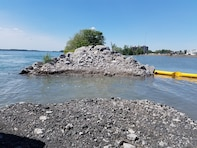 The U.S. Army Corps of Engineers, Buffalo District opened the stone dike wall between the Niagara River and Unity Island's North Pond in June 2018, which will allow fresh water from the Niagara River to enter the pond, providing better connectivity for aquatic species.