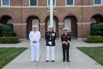 From left, Adm. Alexandre Jose Barreto de Mattos, Commandant of the Brazil Corps of Naval Infantry, Gen. Robert B. Neller, Commandant of the Marine Corps, and Vice Adm. Rafael Lopez Martinez, Coordinator General, Mexico Naval Infantry pose for a photo following a Troop Review Ceremony at Marine Barracks Washington D.C., June 18, 2018.