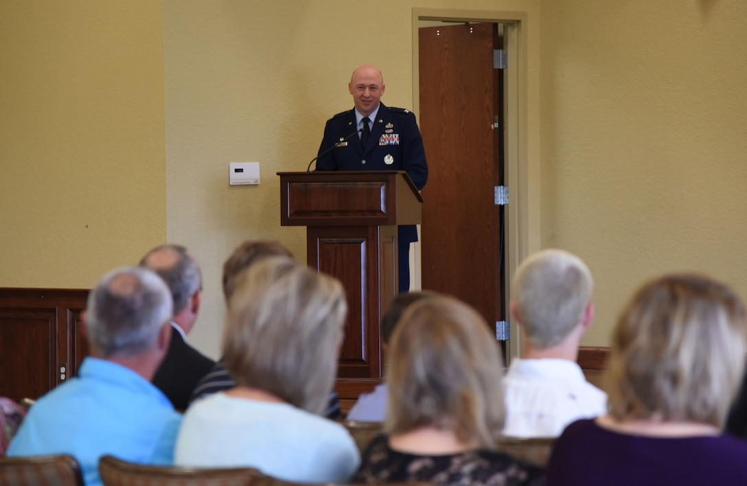 U.S. Air Force Col. Danny Davis, 81st Mission Support Group commander, delivers remarks during the 81st Force Support Squadron change of command ceremony in the Bay Breeze Event Center at Keesler Air Force Base, Mississippi, June 14, 2018. During the ceremony, Davis highlighted the accomplishments of the squadron under the command of Lt. Col Teresa Ammons and introduced the incoming commander, Maj. Amber Ortiz. (U.S. Air Force photo by Kemberly Groue)