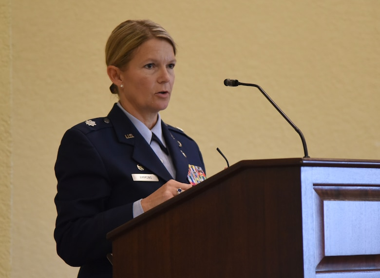 U.S. Air Force Lt. Col. Teresa Ammons, outgoing 81st Force Support Squadron commander, delivers remarks during the 81st FSS change of command ceremony in the Bay Breeze Event Center at Keesler Air Force Base, Mississippi, June 14, 2018. Maj. Amber Ortiz assumed command of the 81st FSS. (U.S. Air Force photo by Kemberly Groue)