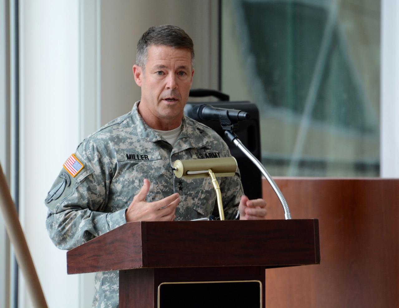 Army Maj. Gen. Austin S. Miller speaks at a ceremony at Fort Benning, Ga., in 2015.