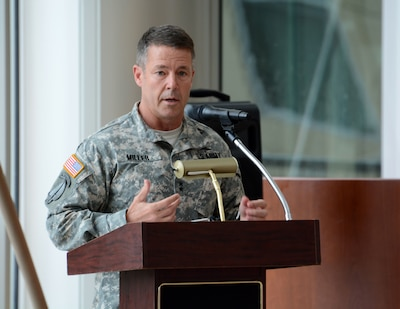 Army Maj. Gen. Austin S. Miller speaks at a ceremony at Fort Benning, Ga., in 2015.