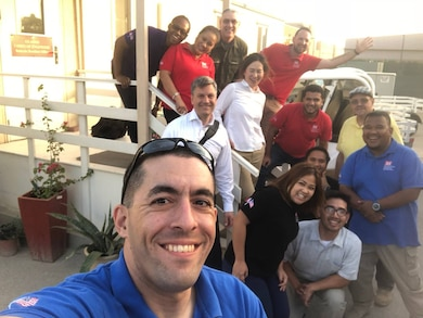 Capt. Scott Pancotto, here with members of the Bahrain Resident Office during a visit from the Middle East District Commander, Colonel Stephen Bales, spent the last year stationed in Bahrain as a project engineer and program manager forward.
