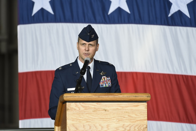 Col. Joel Safranek, 436th Airlift Wing commander, speaks during the wing change of command ceremony May 30, 2018, at Dover Air Force Base, Del. Safranek assumed command of the wing from Col. Ethan Griffin, outgoing 436th AW commander, during the ceremony. (U.S. Air Force photo by Airman 1st Class Zoe Wockenfuss)