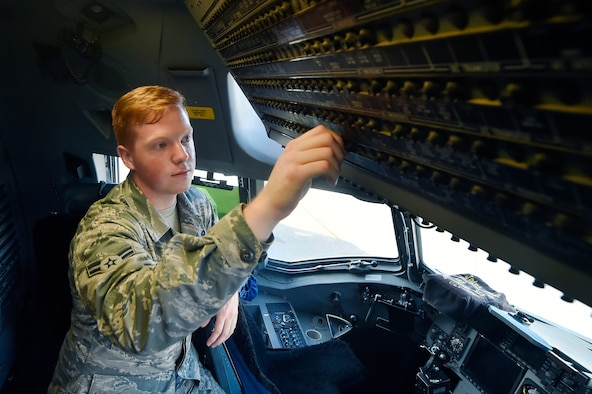 Airman 1st Class Andrew Causey, 437th Aircraft Maintenance Squadron crew chief, conducts a pre-launch inspection of a C-17 Globemaster III June 14, 2018, at Joint Base Charleston, S.C. Crew chiefs here are responsible for coordinating the care and maintenance of one of the largest fleets of C-17 aircraft in the Air Force in support of Air Mobility Command's rapid global mobility mission.