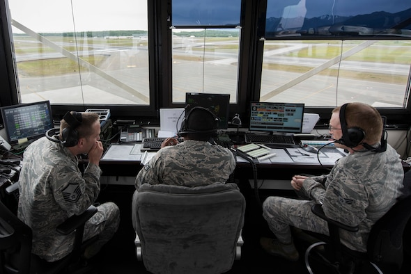 Air Traffic Control Airmen with the 3rd Operations Support Squadron operate out of the Hangar 2 alternate tower on Joint Base Elmendorf-Richardson, Alaska, June 15, 2018. Operations took place at Hangar 2 during the construction of the main tower. Construction is scheduled to be completed June 22.
