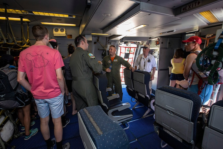 Reserve Citizen Airmen with the 78th Air Refueling Squadron, 514th Air Mobility Wing, answer visitor's questions about the KC-10 Extender during the Innovations in Flight Family Day and Outdoor Aviation Display at the Steven F. Udvar-Hazy Center, Chantilly, Virginia, June 16, 2018. A C-17 Globemaster III and a KC-10 crewed by Reserve Citizen Airmen with the 732nd Airlift Squadron and 78th, both with the 514th Air Mobility Wing, participated in the event at the Center. The 514th is an Air Force Reserve Command unit located at Joint Base McGuire-Dix-Lakehurst, N.J. (U.S. Air Force photo by Master Sgt. Mark C. Olsen)