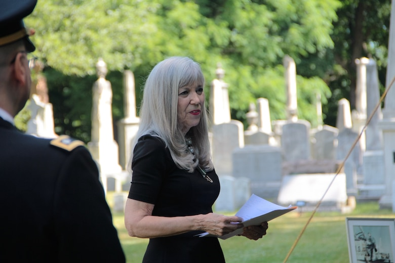 Sharon Cook attends the funeral of her late husband, Maj. James White, a fighter pilot who went missing in Southeast Asia in 1969. White's remains were recently identified by the Defense POW/MIA Accounting Agency and the Armed Forces Medical Examiner System. (Courtesy photo)