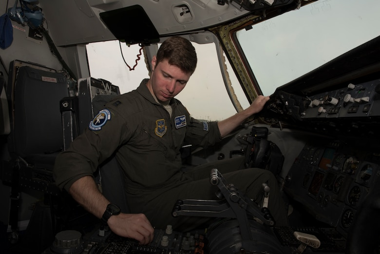 U.S. Air Force Capt. Jeremy Fabling, 6th Air Refueling Squadron KC-10 Extender pilot, conducts a flight controls check in the cockpit of a KC-10 at Misawa Air Base, Japan, June 4, 2018. The aircraft completed a five-day mission which featured refueling U.S. Air Force F-15C Eagles and Japan Air Self-Defense Force fighter aircraft in the Indo-Pacific Command area of operations. (U.S. Air Force photo by Tech. Sgt. James Hodgman)