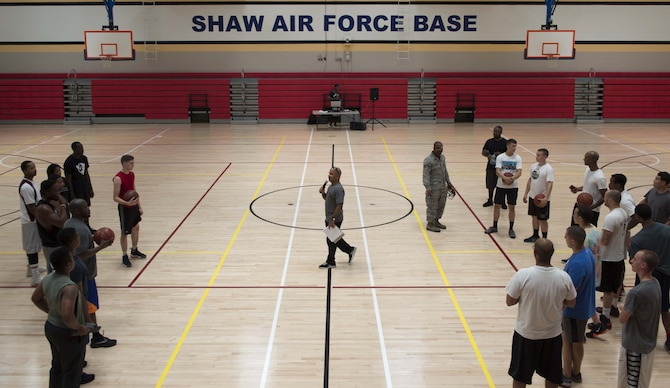U.S. Air Force Chaplain (Capt.) Eddie Rubero, 20th Fighter Wing chaplain, briefs Team Shaw members at the 20th Force Support Squadron main fitness center at Shaw Air Force Base, S.C., June 15, 2018.