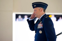 Col. Chad J. Hartman renders a first salute to Airmen of the Air Force Technical Applications Center, Patrick AFB, Fla., during his Change of Command ceremony June 20, 2018.  (U.S. Air Force photo by Phillip C. Sunkel IV)