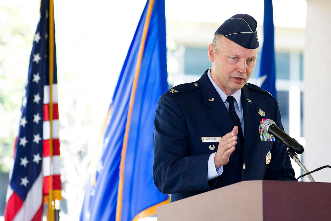 Col. Chad J. Hartman, incoming commander of the Air Force Technical Applications Center, Patrick AFB, Fla., addresses the crowd during his Change of Command ceremony June 20, 2018.  (U.S. Air Force photo by Phillip C. Sunkel IV)