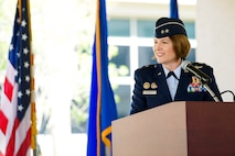 Maj. Gen. Mary F. O'Brien, commander of 25th Air Force, delivers her remarks during a Change of Command ceremony for the Air Force Technical Applications Center, Patrick AFB, Fla., June 20, 2018.  O'Brien served as the ceremony's presiding officer, conferring authority from outgoing commander Col. Steven M. Gorski to incoming commander Col. Chad J. Hartman.  (U.S. Air Force photo by Phillip C. Sunkel IV)